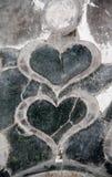 Corações em uma pedra Foto de Stock