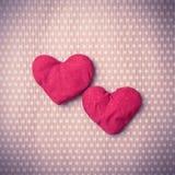 Corações feitos malha coloridos Imagem de Stock