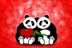 Corações felizes Bokeh dos pares da panda do dia dos Valentim Foto de Stock Royalty Free