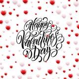 Corações felizes de Valentine Day Calligraphy Background With 3D Ilustração do vetor Fotos de Stock