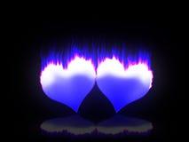 Corações flamejantes Fotos de Stock