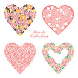 Corações florais do casamento ajustados Elementos do projeto para a decoração do cartão de casamento Imagem de Stock