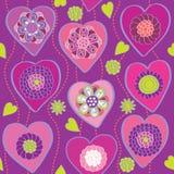Corações florais - teste padrão sem emenda Fotos de Stock Royalty Free