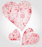 Corações florais vermelhos Fotos de Stock