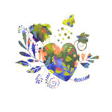 Corações, flores e borboleta Fotografia de Stock