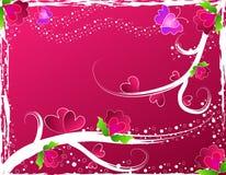 Corações, flores e borboletas Fotos de Stock Royalty Free