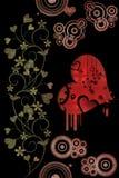 Corações, flores e motivos retros Fotografia de Stock