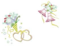 Corações, flores e sinos Fotografia de Stock Royalty Free