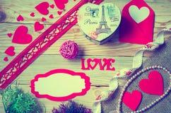Corações, flores, fitas Imagens de Stock Royalty Free