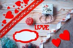 Corações, flores, fitas Fotos de Stock
