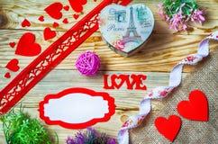 Corações, flores, fitas Fotos de Stock Royalty Free