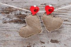 Corações handmade da lona Fotografia de Stock Royalty Free