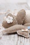 Corações handmade da lona Foto de Stock Royalty Free