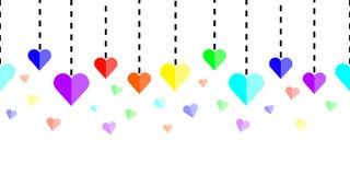 Corações horizontalmente sem emenda do arco-íris com linhas tracejadas no fundo branco Imagem de Stock Royalty Free