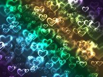 Corações iluminados coloridos   Fotografia de Stock Royalty Free