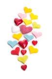 Corações isolados de cores diferentes Fotografia de Stock