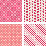 Corações, listras diagonais & testes padrões da hachura Fotos de Stock