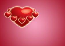 Corações lustrosos ao redor Foto de Stock Royalty Free