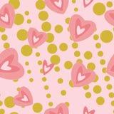 Corações modernos no rosa um teste padrão sem emenda do fundo do ouro ilustração stock