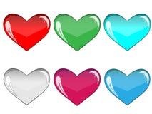 Corações muito-coloridos vidro Imagens de Stock