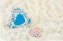 Corações na areia Foto de Stock