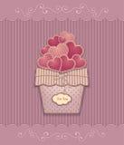 Corações na cesta feita das cores pastel do lilás do rosa do papel da textura ilustração do vetor