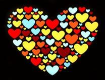 Corações na forma do coração Imagens de Stock