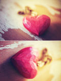 Corações na moda vermelhos do olhar Fotos de Stock