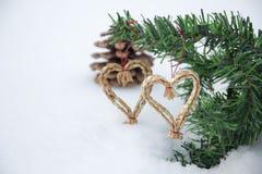 Corações na neve Fotos de Stock