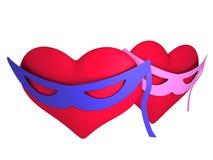 Corações nas máscaras Fotografia de Stock