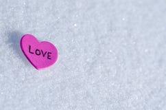 Corações nevado Imagens de Stock