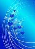 Corações no azul Ilustração Royalty Free