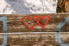 Corações no banco Fotos de Stock