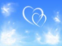 Corações no céu Foto de Stock