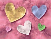 Corações no fundo cor-de-rosa ilustração do vetor
