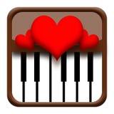 Corações no piano ilustração stock