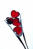 Corações no vidro Fotografia de Stock