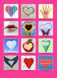 Corações. O casamento e o cartaz do Valentim, o cartão e outro projetam Fotografia de Stock