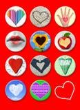 Corações. O casamento e o cartaz do Valentim, o cartão e outro projetam. Imagem de Stock
