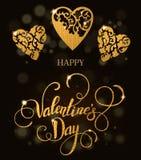 Corações ornamentado florais bonitos do brilho com rotulação Cartão do Valentim Imagem de Stock