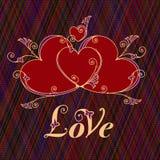 Corações para o projeto Dia de Valentim, mensagem do amor ilustração royalty free