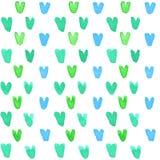Corações pequenos da aquarela no fundo branco Fotografia de Stock
