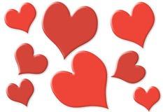 Corações pequenos e grandes aleatórios com 2 cores Fotos de Stock Royalty Free