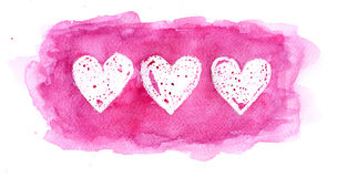 Corações pintados com pintura da aguarela Foto de Stock