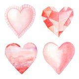 Corações pintados mão da aguarela ilustração do vetor
