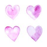 Corações pintados mão da aguarela ilustração stock