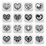 Corações populares com flores e botões dos pássaros ajustados Foto de Stock Royalty Free