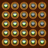 Corações punk da avaliação da Web do jogo do vapor ajustados Fotos de Stock