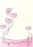 Corações que batem com borboleta Fotos de Stock Royalty Free