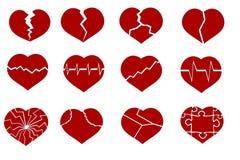 Corações quebrados Ilustração do Vetor